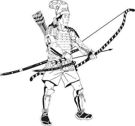 Vector - Illustration Japanese Samurai Archer