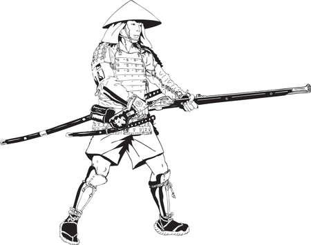 Banque d'images - Illustration artilleur samouraï japonais Banque d'images - 99729734