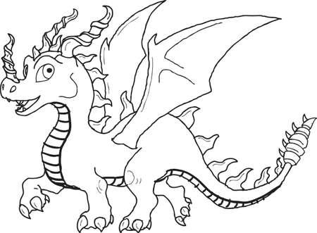 Vector - Line Art Funny Dragon
