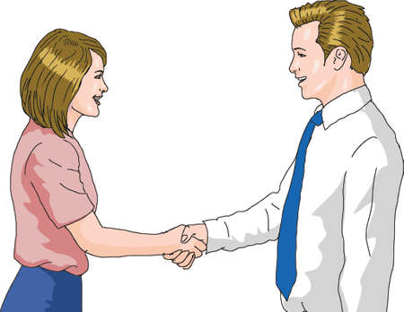 Vector - Bussineswoman and Bussinessman Shakehand 스톡 콘텐츠 - 101683457