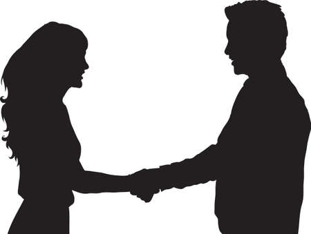Silhouette Bussineswoman and Bussinessman Shakehand 일러스트