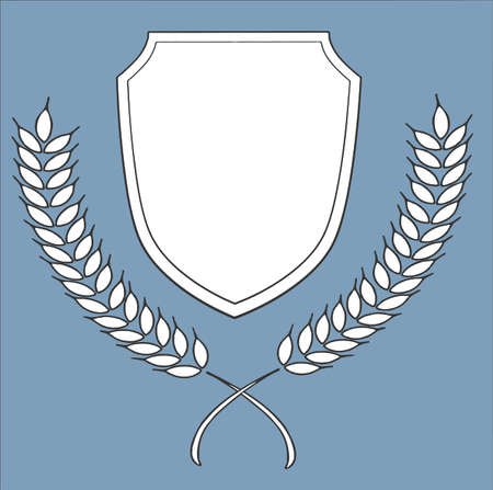 Banque d'images - Bouclier et couronnes d'insigne de blé