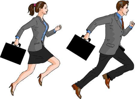 Vektor - Geschäftsfrau und Geschäftsmann laufen
