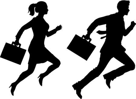 Vector - Silhouette Bussinesswoman and  Businessman running Ilustração