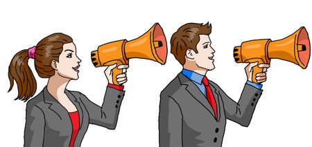 Vector - Businessman and Businesswoman with Megaphone