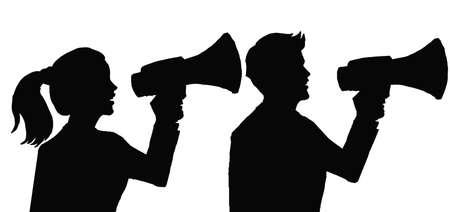 Ilustracja wektorowa - sylwetka wykonawczego mężczyzny i kobiety z megafonem