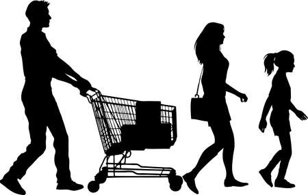 Silhouette - Family Shoping with Trolley