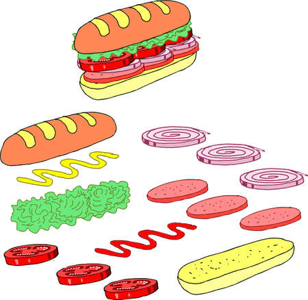Vector - Isometric sandwich ingredients Illustration