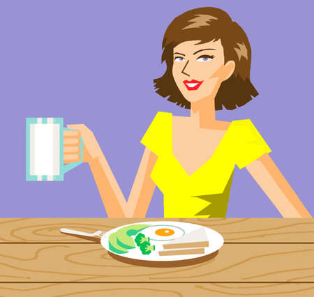 Vector - Pretty Young  Woman Eat and Drink Milk Illustration