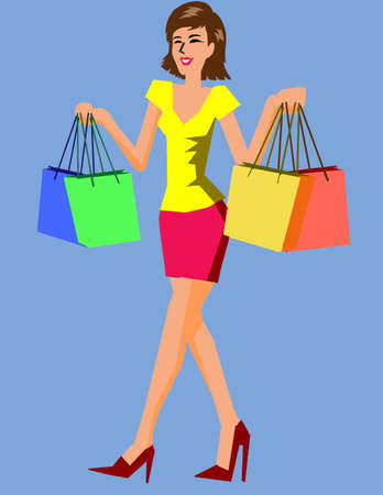 Vector - Woman Shoping Illustration