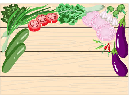 Vector - Vegetables on Wooden Background Ilustração