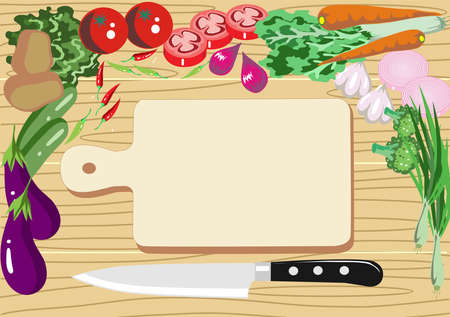 Vector - Vegetables and choping block  on Wooden Background