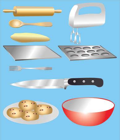 Vector - Kitchen Baking Utensils set Illusztráció