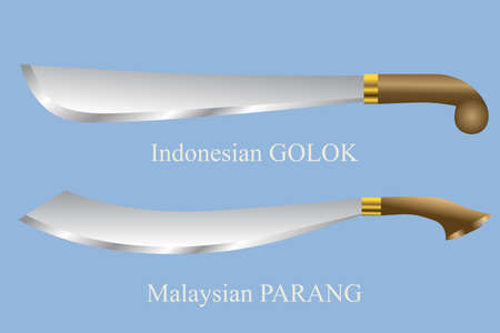 Vector - Golok And Parang Machete Illustration Illustration