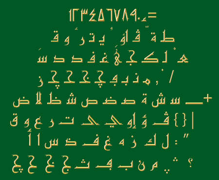 Arabic Font Kufic Gold Green Background
