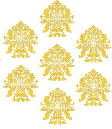 Vector - Ornate Arabesque Pattern Illustration Gold
