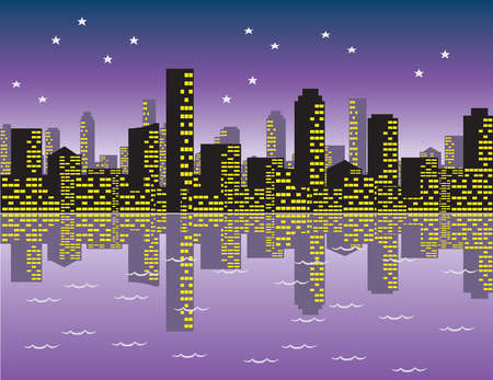 Vector - Skyline of Cityscape Night