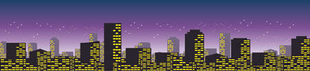 Vector - Skyline of Cityscape ninght  pan