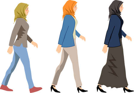 Vector - Muslim Woman Wearing Hijab Walk Side
