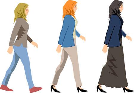 Vector - Muslim Woman Wearing Hijab Walk Side
