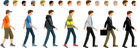 Vector - Man Casual Bussinesman Walking side Illustration