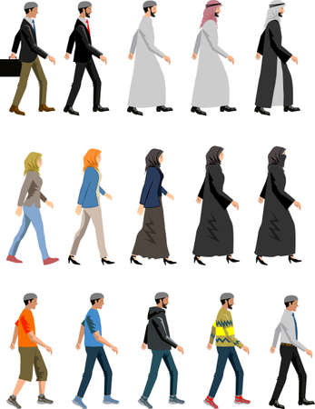 Vector - Man and Woman Muslim Walking Side View Illustration