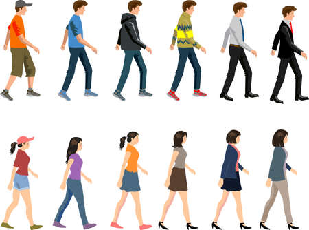 Vector - Man and Woman Casual Businessman Walking  Side View 일러스트