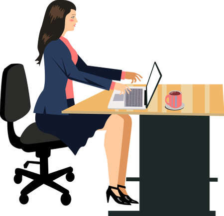 Vector - Woman Working on Desk Laptop Illustration