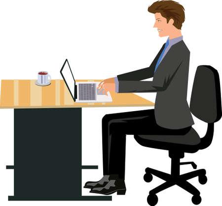 Vector - Man Working On Desk Laptop Illustration 向量圖像