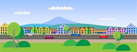 Vector - Small Town Main Street Illustration  イラスト・ベクター素材