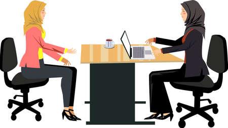 Vector - Muslim In  Job Interview Illustration