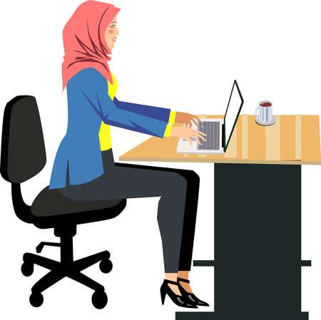 Stockfoto - Moslimvrouw die met laptop op bureauillustratie werkt