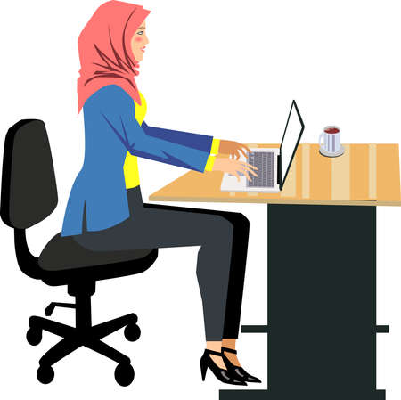 Vector - Muslim Woman Working with Laptop on Desk Illustration
