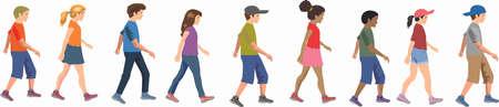 Vektor - Mädchen und Jungenkinder gehen Seite Vektorgrafik