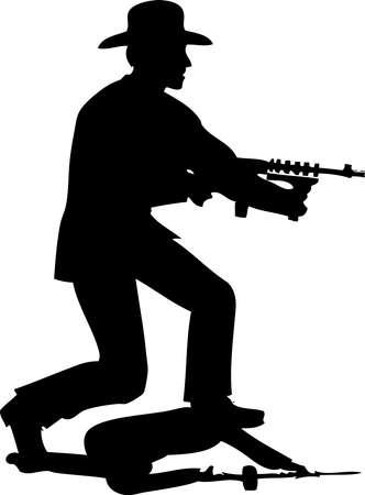 Silhouette Mafia Gangster shooting With Thompson Gun Çizim