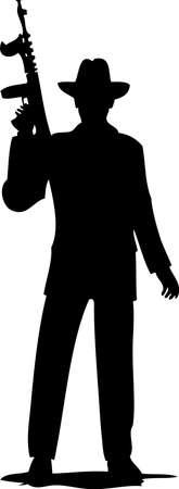 Gángster de la mafia de silueta con pistola Thompson