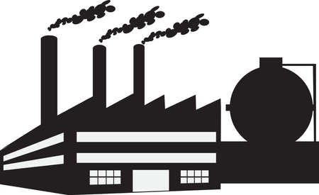 Silhouette - Factory Vector Illustration