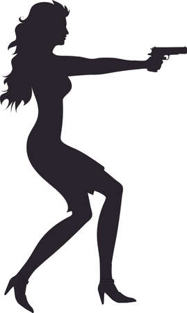 Silhouette - Sexy Woman Aiming Pistol Gun Illustration Vector