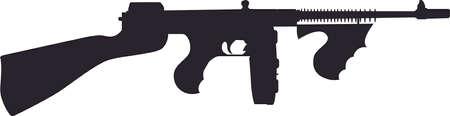 Silhouette -  Tommy Gun Illustration