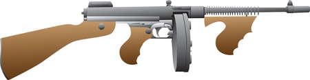 Vector - Tommy Gun Gangster Illustration