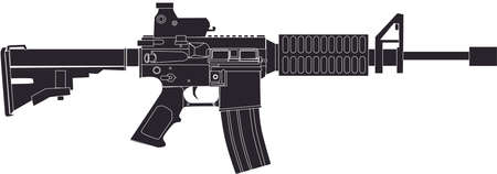 AR15 Rifle Black  Drawing Illustration