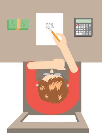 Vector Man Counting Money Ilustração