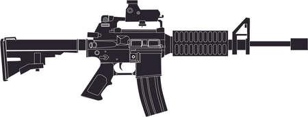 M4 Rifle  Drawing Black Illustration
