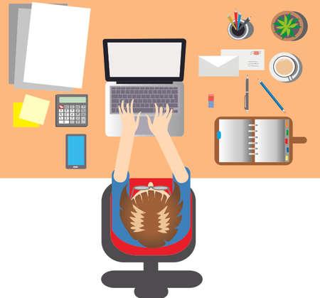Vector, Desktop Office Illustration