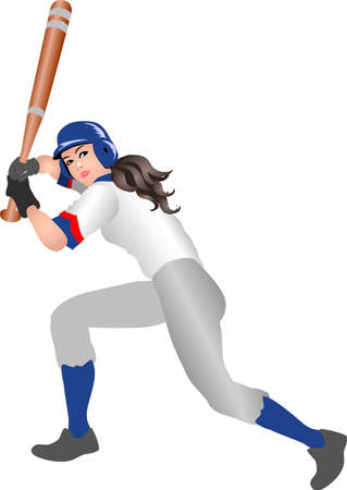 Vector - Woman Basebal Batter Anticipating Illustration 일러스트