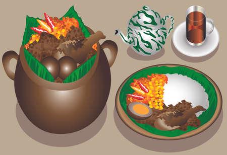 Vector - Gudeg Jogja , Traditional Food From Jogja, Indonesia