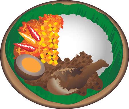 Vector - Nasi Gudeg , Traditional Food From Jogja, Indonesia