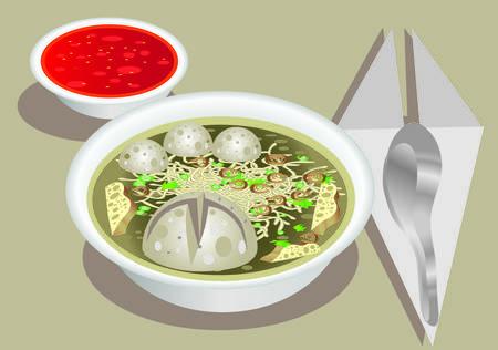 Vektorgrafik Standard-Bild - Fleischbällchen Bakso, indonesische Küche Vektorgrafik