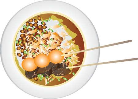 Vector - Bubur Ayam , Indonesian Chicken Porridge Illustration