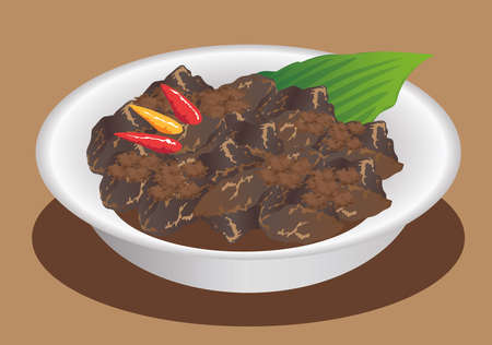 Vector - Rendang Padang, Indonesian Traditional Stew Beef Stock Vector - 118627715
